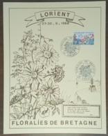 YT N°1269 Sur Document - FLORALIES DE BRETAGNE - LORIENT - 1968 - France