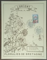YT N°1189 Sur Document - FLORALIES DE BRETAGNE - LORIENT - 1968 - France