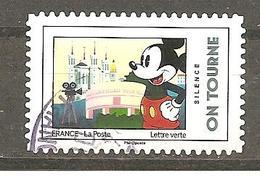 France  2018  Autoadhésif Oblitéré N°1591  (Mickey Et La France) (cachet Rond) - 2010-.. Matasellados