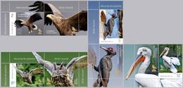 ROMANIA, 2018, BIRDS RECORDS, Eagle, Woodpecker, Owl, Pelican, Set Of 4 Stamps + Label, MNH (**); LPMP 2214 - 1948-.... Repúblicas