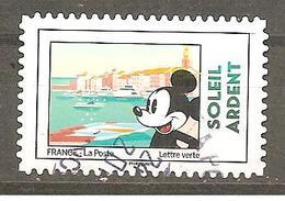 France  2018  Autoadhésif Oblitéré N°1592  (Mickey Et La France) (cachet Rond) - 2010-.. Matasellados