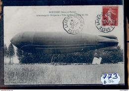 773D77 MORTCERF ATTERRISSAGE DU DIRIGEABLE VILLE DE NANCY  TTB - Dirigibili