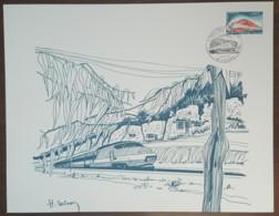 FDC 1974 - YT N°1802 - TURBOTRAIN - TOURS - Sur GRAVURE SAINSON - 1970-1979