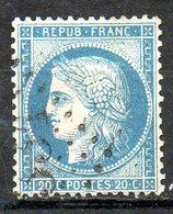 """FRANCE - 1870 - Emission Cérès Dite """"du Siège De Paris"""" - N° 37 - 20 C. Bleu - (Oblitération : Losange Gros Chiffres) - 1870 Besetzung Von Paris"""