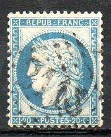 """FRANCE - 1870 - Emission Cérès Dite """"du Siège De Paris"""" - N° 37 - 20 C. Bleu - (Oblitération : Losange Gros Chiffres) - 1870 Assedio Di Parigi"""