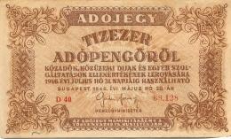 BILLET HONGRIE  1946  ADOJEGY - Hungary