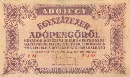 BILLET HONGRIE  1946  ADOJEGY - Hongrie