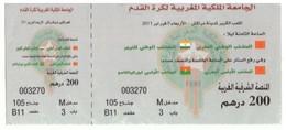 Billet Pour 2 Matches Internationaux Football Maroc - Niger Et Maroc Olympique Burkina Fasso. 2011 - Soccer