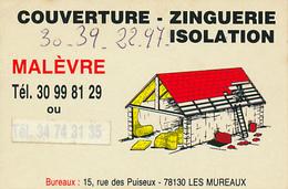 """Carte De Visite : """"Malèvre"""", Les Mureaux (77, Yvelines), Couverture, Zinguerie, Isolation, 2 Scans - Cartes De Visite"""
