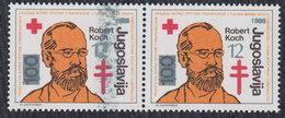 Yugoslavia 1988 Fight Against Tuberculosis Surcharge - Robert Koch, Error - Smeared Overprint, MNH (**) Michel 165 - Non Dentellati, Prove E Varietà
