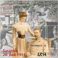 2014 Austria -100 Years Of Start Of WWI - Saraevo Assasination - MS - Paper - MNH** MI B 80 - 1. Weltkrieg