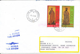 Vatican Cover Sent Air Mail To England 9-6-1998 With Complete Set Of 2 EUROPA CEPT Stamps - Vatican