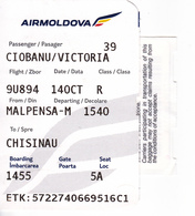 2018  , Avion Ticket , AirMoldova , Boarding Pass., Malpensa  To Chisinau , Milano , Used - Plane