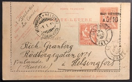 Crète Bureau Français 1909 Entier Mouchon 0,10 Sur 15 + N°7 De Crète De La Canée Pour La Finlande R - Unclassified