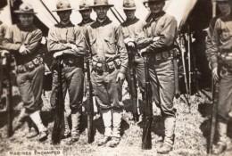 Soldats Americains Au Campement Fusils WWI Ancienne Photo 1914-1918 - War, Military