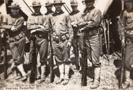 Soldats Americains Au Campement Fusils WWI Ancienne Photo 1914-1918 - Oorlog, Militair