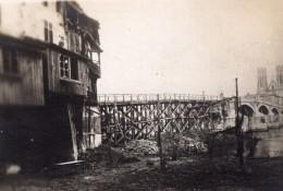 Pont A Mousson Eglise Saint Martin Et Pont Temporaire WWI Ancienne Photo 1914-1918 - War, Military