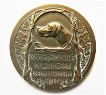 MÉDAILLE SOCIÉTÉ CANINE DU SUD EST EXPOSITION  ROANNE 1938 BRONZE DORÉ - Other
