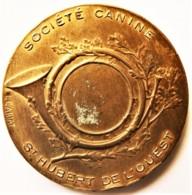 MÉDAILLE SOCIÉTÉ CANINE ST HUBERT DE L'OUEST CIRCA1930 BRONZE DORÉ - Other