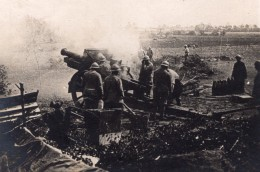 Somme Canon De 155 En Action Pres De Roye WWI Ancienne Photo 1914-1918 - War, Military
