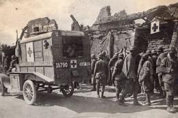 Camion Ambulance Americain Avec L'Armee Francaise WWI Ancienne Photo 1914-1918 - Guerre, Militaire