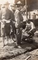 Heure De La Soupe! Militaires Americains WWI Ancienne Photo 1914-1918 - War, Military