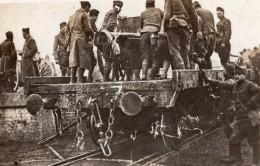 Arrivee De L'Artillerie D'une Division En Route Pour Le Front WWI Ancienne Photo 1914-1918 - War, Military