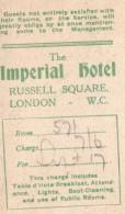 Carte De L'Hotel Imperial A Londres Services Et Heures Des Repas 1910's - War, Military