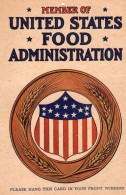 1917 United States Food Administration Window Card Sign WW1 - War, Military
