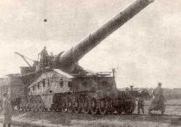 Artillerie Lourde Sur Voie Ferree Canon Obusier? WWI Ancienne Photo 1914-1918 - War, Military