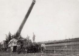 Artillerie Lourde Sur Voie Ferree Canon Obusier? Soldats WWI Ancienne Photo 1914-1918 - War, Military