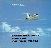 "07536 ""AEROFLOT - INTERNATIONAL ROUTES OF THE TU-154 - TUPOLEV"" ANNI '60 - OPUSCOLO ORIGINALE. - Advertisements"