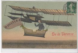 94 LA-VARENNE . Amitiés En Aéroplane En Couleur , édit :  , écrite En 1908 , état Extra - France