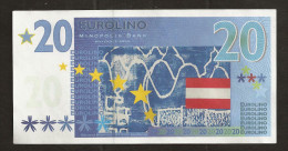 "EURO-Note ""minopolis, Wien,  20 EUROLINO"", Typ A, RRRRR, Nov. 2005, UNC, Canceled, 125 X 65 Mm - Austria"