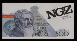 "Test Note ""NGZ"" Testnote, 500 BEF, Belgien, Beids. Druck, RRR, UNC - Belgio"