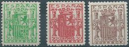 ESPAGNE SPANIEN ESPAÑA 1936 ESCUDO ESPAÑA GRANADA 3 COLOR VARIETIES MNH ED 801 MI 750 SG ND1 SC 615 YV 563 - 1931-50 Neufs