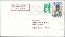 France 1979 Marine Nationale Chasseur De Mines CERES Pmk 29240 BREST NAVAL Maritime Mail Post Cover Franked Europa-CEPT - Marcofilia (sobres)