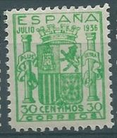 ESPAGNE SPANIEN ESPAÑA 1936 ESCUDO ESPAÑA GRANADA 3 COLOR VARIETY GREEN MNH ED 801 MI 750 SG ND1 SC 615 YV 563 - 1931-50 Neufs