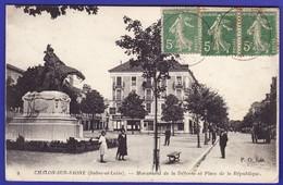 CHALON SUR SAONE Place De La Republique Animée 1921 Café (une CORNURE ANG INF G SINON Trés Très Bon état) --955 ) - Chalon Sur Saone