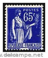France Type Paix N°  365 ** 3ème Série Le 65c Outremer - 1932-39 Paix