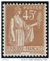 France Type Paix N°  282 ** De La 1 ère Série, Le 45 Cts Bistre - 1932-39 Peace