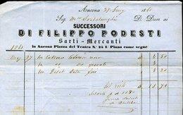 25 ANCONA 1861 FATTURA SUCCESSORI DI FILIPPO PODESTI SARTI MERCANTI , PIAZZA DEL TEATRO 25 - Italy