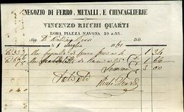 31 ROMA 1861 VINCENZO RICCHI QUARTI NEGOZIO DI FERRO METALLE E CHINCAGLIERIE , PIAZZA NAVONA 29 A 33 - Italia