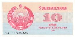 BILLET OUZBEKISTAN 10 CYM - Ouzbékistan