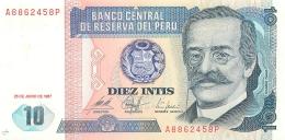 BILLET  PEROU  DIEZ INTIS  1987 - Pérou