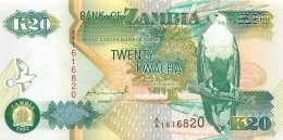 BILLET  ZAMBIE  20 KWACHA - Zambie