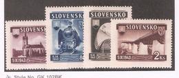 Slovakia 1943,New Railroad Line,Scott # 89-92,VF Mint Hinhed*OG (MB-11) - Slovakia