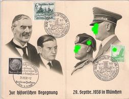 3. Reich Propaganda Treffen Reichskanzler Hitler Duce Mussolini Premier Chamberlain Daladier 1938 München Sonderstempel - Allemagne