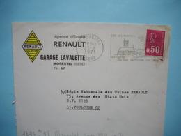 ENVELOPPE PUBLICITAIRE  -  Agence RENAULT  -  Garage LAVALETTE  -  MORESTEL  -  38  -  ISERE  - 1971 - Marcophilie (Lettres)