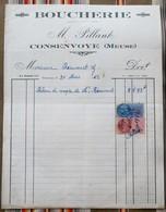 55 CONSENVOYE M. Pillant BOUCHERIE Timbres Fiscaux - Food